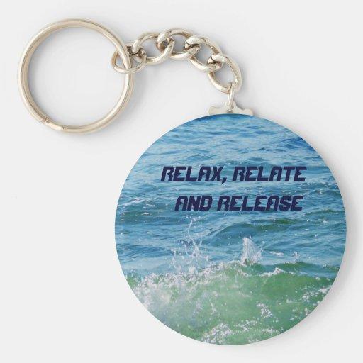 Relájese, relaciónese y Release_Keychain Llavero Redondo Tipo Pin