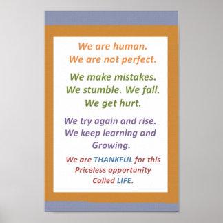 RELÁJESE: Somos SER HUMANO, no perfecto pero NOS E Posters