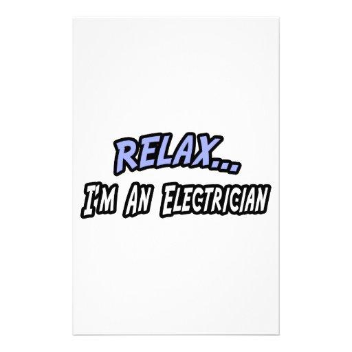 Relájese, yo son un electricista papelería personalizada
