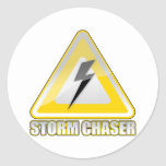 Relámpago 2 del cazador de la tormenta etiqueta redonda