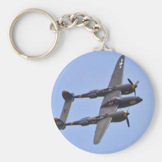 Relámpago a de Lockhhe P-38J Llavero Redondo Tipo Pin