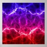 Relámpago abstracto rojo y azul poster
