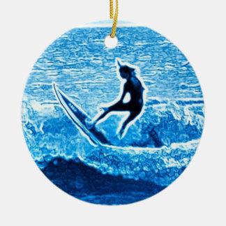 Relámpago azul adorno navideño redondo de cerámica