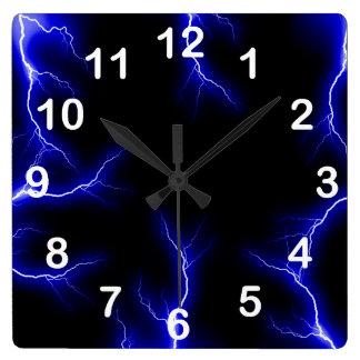 Relámpago azul numerado reloj de pared