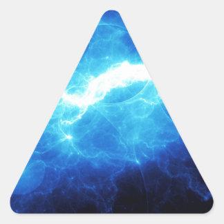 Relámpago azul pegatina triangular