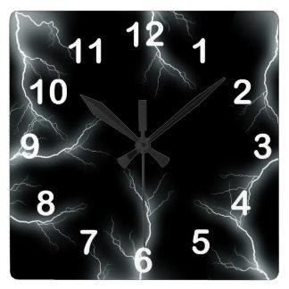 Relámpago blanco numerado reloj de pared