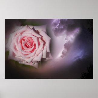 Relámpago color de rosa póster