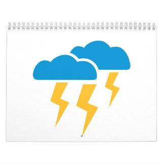 Relámpago de la tempestad de truenos calendario