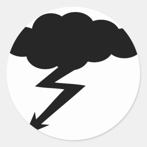 relámpago de la tempestad de truenos pegatina redonda
