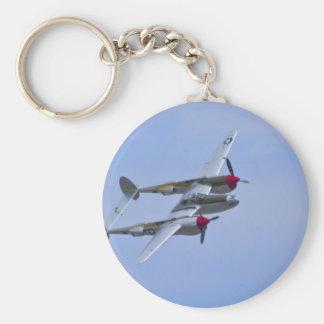 Relámpago de Lockeed P-38J Llavero Redondo Tipo Pin