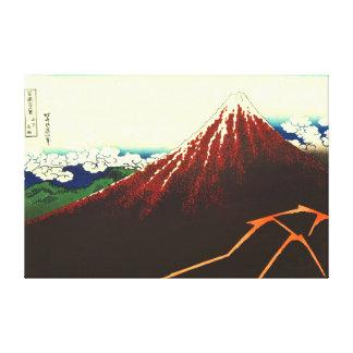 Relámpago debajo de Fuji rojo 1826 Impresión En Tela
