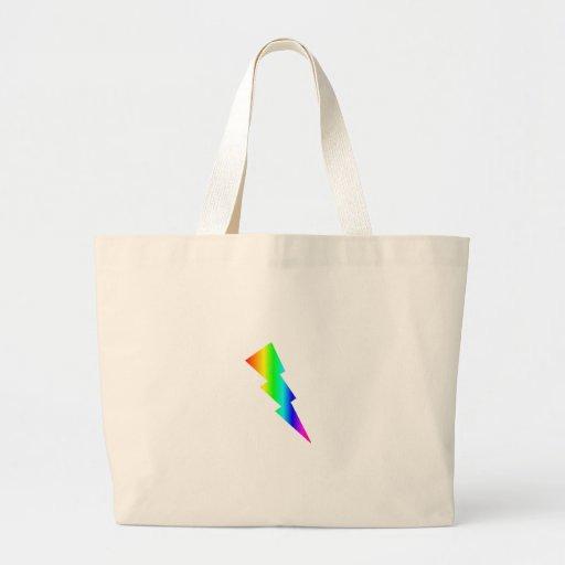 Relámpago del arco iris bolsa tela grande
