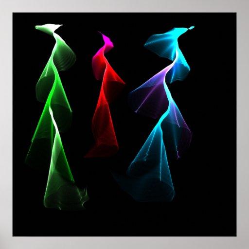 Relámpago del arco iris del baile póster