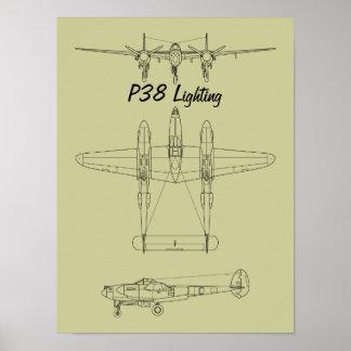 Relámpago P-38 Posters