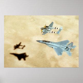 Relámpago P-38 y F-15 Eagle Póster