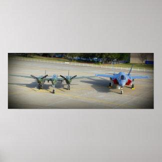 Relámpago P-38 y F-35 relámpago II Póster