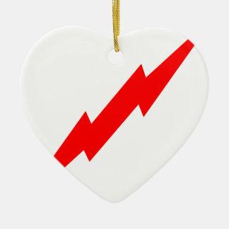 Relámpago rojo adorno navideño de cerámica en forma de corazón
