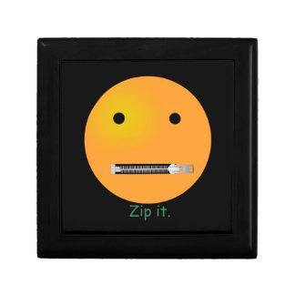 Relampagúelo Emoticon sonriente de la cara Joyero Cuadrado Pequeño