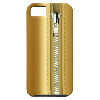 Relampagúelo encima del cuero del oro iPhone 5 Case-Mate cárcasas