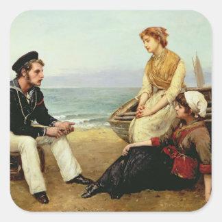 Relating his Adventures, 1881 Square Sticker