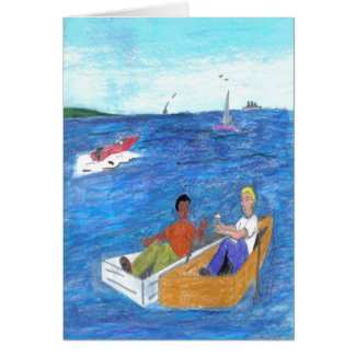 Relationship boats, people on the water card
