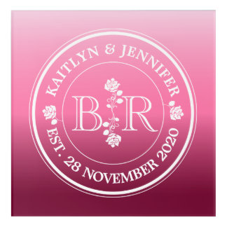 Relationship of Equals Monogram Rose Pink Ombre Acrylic Print