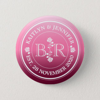 Relationship of Equals Monogram Rose Pink Ombre Button