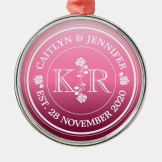 Relationship of Equals Monogram Rose Pink Ombre Metal Ornament