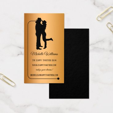 Professional Business Relationship Rose Gold Black Blogger Business Card
