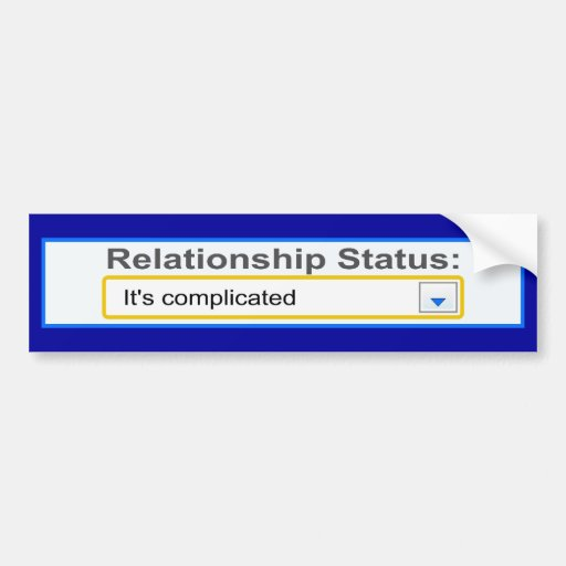 Relationship Status It's Complicated Design Bumper Stickers