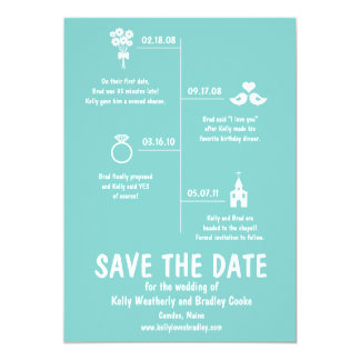 Relationship Timeline Save the Date Personalized Invitations