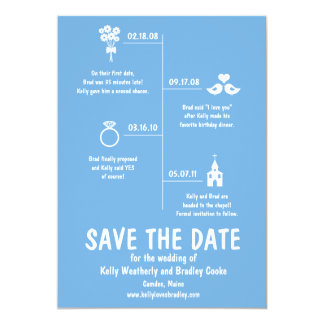 "Relationship Timeline Save the Date 5"" X 7"" Invitation Card"