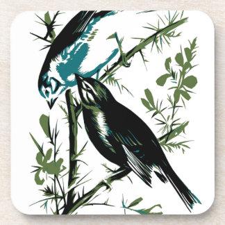 Relative Wild Birds Swaysland Linnets woodcut Inte Beverage Coaster