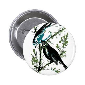 Relative Wild Birds Swaysland Linnets woodcut Inte Button