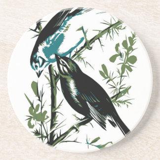 Relative Wild Birds Swaysland Linnets woodcut Inte Drink Coaster