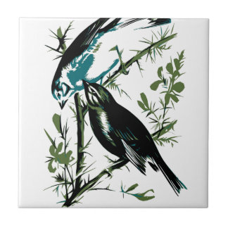 Relative Wild Birds Swaysland Linnets woodcut Inte Small Square Tile