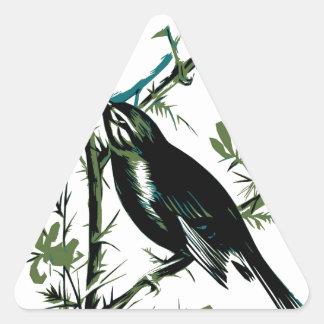 Relative Wild Birds Swaysland Linnets woodcut Inte Triangle Sticker