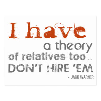 Relatives Theory - Jack Warner Quote Postcards