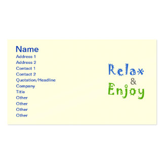 Relax and Enjoy Business Card Templates