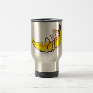 Relax & chill out   ape on banana 15 oz stainless steel travel mug