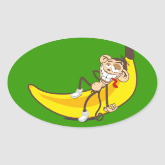 Relax & chill out | ape on banana oval stickers