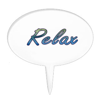 Relax cloud green blue outlined cake topper