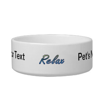 Relax cloud green blue outlined cat food bowls