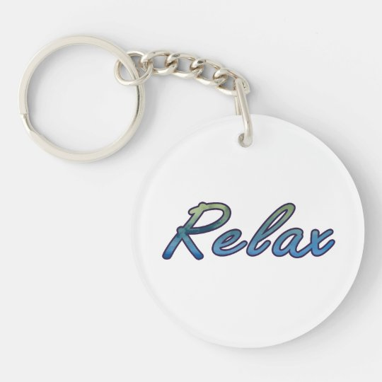 Relax cloud green blue outlined keychain