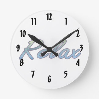 Relax cloud green blue outlined round clock