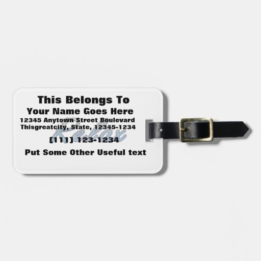 Relax cloud green blue outlined tag for bags