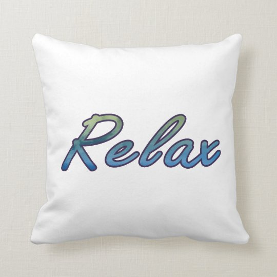 Relax cloud green blue outlined throw pillow