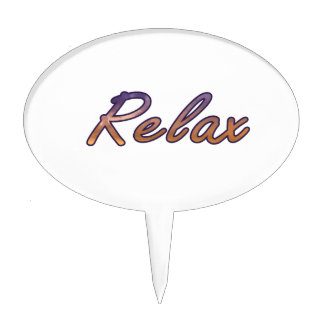 Relax cloud purple orange outlined cake topper