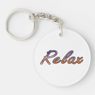 Relax cloud purple orange outlined acrylic keychain