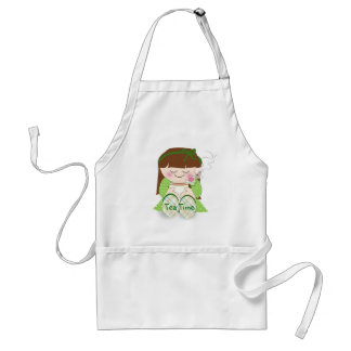 Relax! Cute Kawaii Girl Relaxing with Tea / Coffee Adult Apron